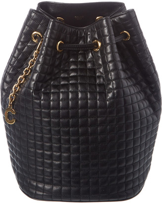 Celine Small C Charm Leather Bucket Backpack