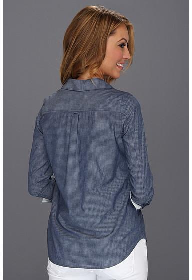 Calvin Klein Jeans Petite Petite Fitted Denim Shirt in Indigo Dot