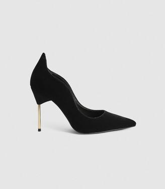Reiss Zhane Court - Velvet Point Toe Heels in Black