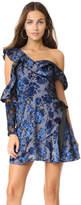 Self-Portrait Eyelet Wrap Velvet Mini Dress