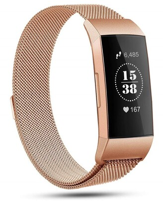 Posh Tech Small Stainless Steel Band for Fitbit Charge 3 - Rose Gold
