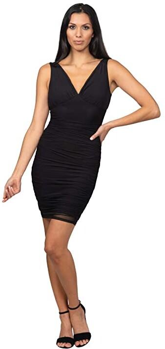Bebe Mesh Off-the-Shoulder Chiffon Dress