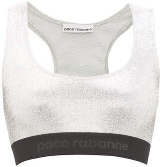 Paco Rabanne Low-impact Logo-hem Lame Sports Bra - Silver