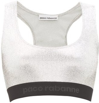Paco Rabanne Low-impact Logo-hem Lame Sports Bra - Womens - Silver