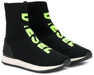 Diesel high-top logo sneakers