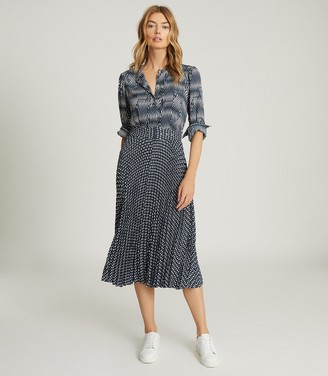 Reiss INA PRINTED MIDI DRESS Blue/White