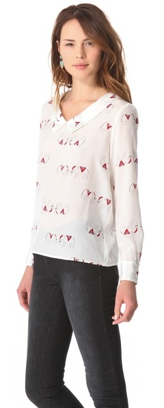 Tucker Pointed Collar Blouse