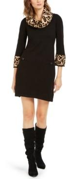 Jessica Howard Animal-Print-Trim Sweater Dress