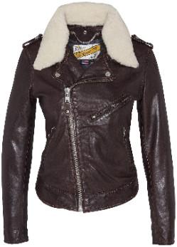 Schott NYC Plum Lambskin Lady Perfect Jacket with Removable Sheepskin Collar - l   Lambskin   plum - Plum