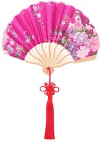 uxcell® Bamboo Frame Chinese Knot Tassel Pendant Decor Dancing Folding Hand Fan