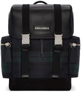 DSQUARED2 Green Tartan Nylon Backpack