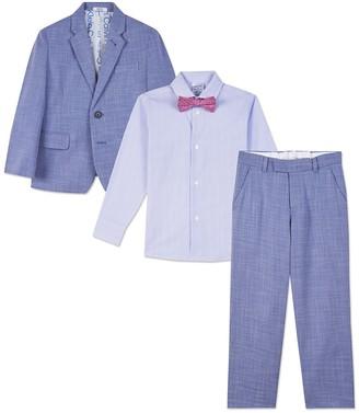 Calvin Klein Blue Sharkskin 4-Piece Suit Set (Little Boys)