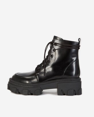 The Kooples Black leather ankle boots with notched sole