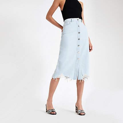 River Island Light blue button front midi denim skirt