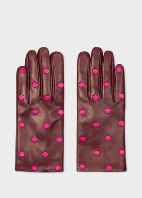 Paul Smith Women's Burgundy Leather Gloves With Embroidered Polka Dots
