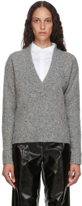 Tibi Grey Eco Tweedy V-Neck Sweater