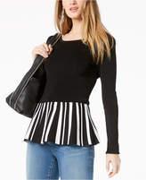 INC International Concepts I.N.C. Striped-Hem Peplum Sweater, Created for Macy's