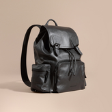Burberry The Large Rucksack In Water-repellent Leather, Black
