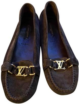 Louis Vuitton Brown Velvet Flats