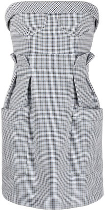 Philosophy di Lorenzo Serafini Check-Pattern Strapless Mini Dress