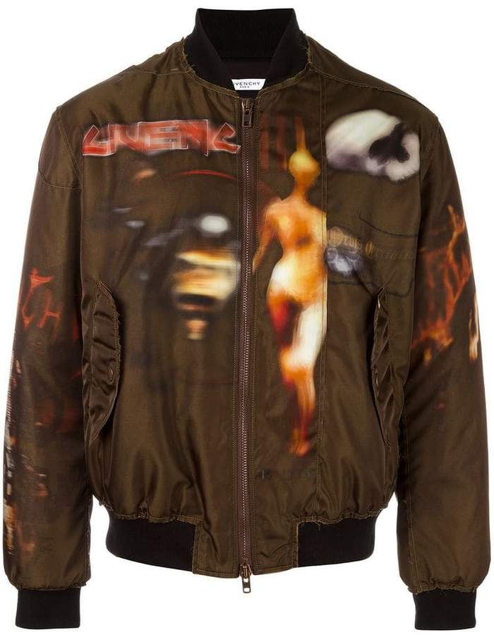 Givenchy freedom print paneled bomber jacket