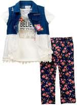 Nicole Miller Denim Lace Vest, Tee, & Printed Capri Set (Little Girls)