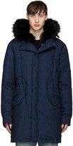 Yves Salomon Navy Denim Down and Fur Parka