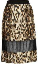 River Island Womens Brown leopard print lace panel midi skirt