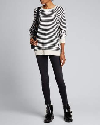 The Great The Slouch Striped Raglan-Sleeve Sweatshirt