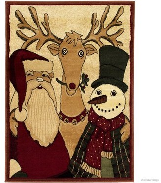 The Holiday Aisle Holiday Christmas Santa Claus with friends High-Quality Woven Red Area Rug The Holiday Aisle