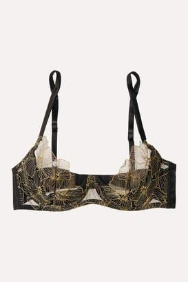 Coco de Mer Danae Silk-blend Satin And Embroidered Tulle Underwired Plunge Bra - Black