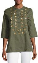 Figue Jasmine Sequin-Embellished Tunic Top, Green