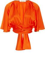 Diane von Furstenberg V-Neck Tie Blouse