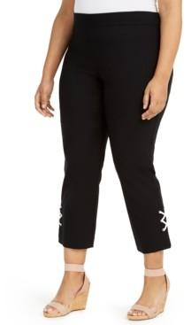 JM Collection Plus Size Embellished-Hem Capri Pants, Created for Macy's
