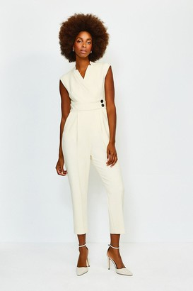 Karen Millen Collar Wrap Popper Jumpsuit