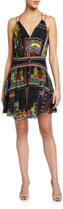 Camilla Strappy Printed Button-Front Dress w/ Shaped Waistband