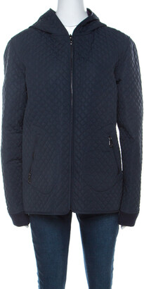 Mulberry Navy Blue Quilted Zip Front Hooded Jacket L