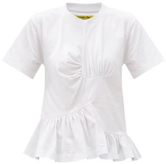 Marques Almeida Peplum-hem Ruched Recycled-cotton Blend T-shirt - White