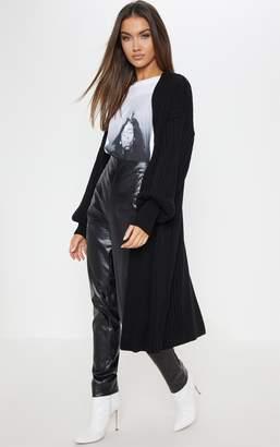 PrettyLittleThing Grey Ribbed Knitted Midi Cardigan
