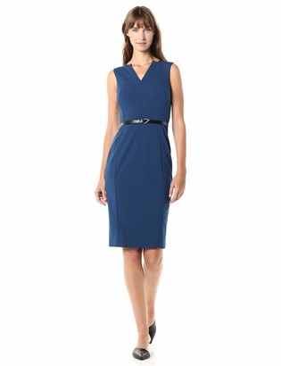 Calvin Klein Women's Sleeveless Belted Sheath with Notch V-Neckline Dress