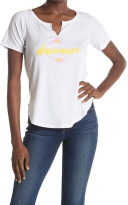 Bobeau Split Neck Graphic Print T-Shirt