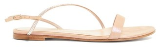 Gianvito Rossi Crystal-strap Metallic-suede Sandals - Womens - Nude