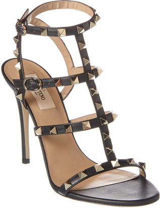 Valentino Rockstud Caged 120 Leather Ankle Strap Sandal