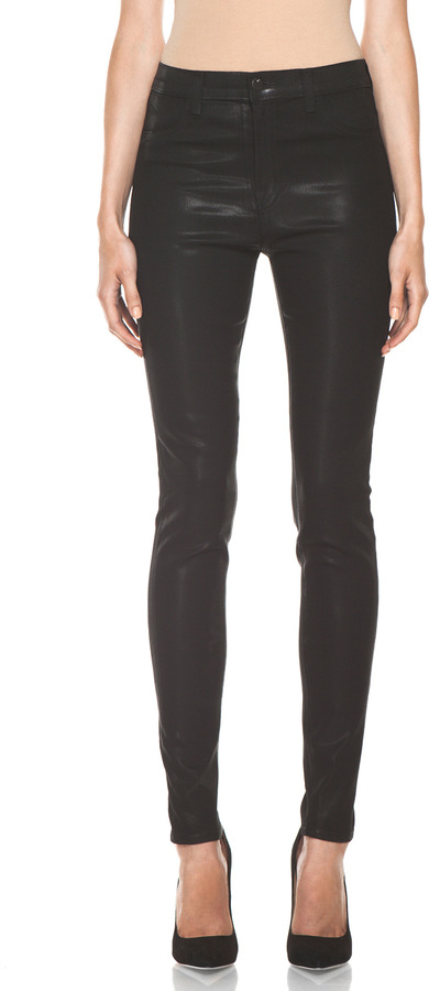 J Brand Maria High Rise Skinny Jean in Coated Stealth