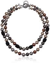 Anne Klein Hematite And 2 Row Collar Necklace