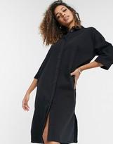 Thumbnail for your product : Monki Mona Lisa organic cotton midi denim shirt dress in black wash