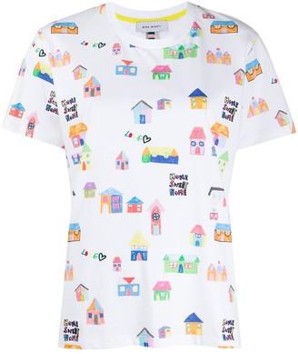 Mira Mikati houses print embroidered T-shirt