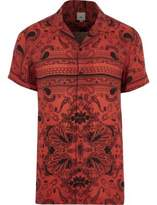 River Island Mens Red bandana print revere short sleeve shirt