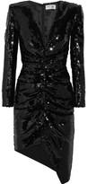 Saint Laurent Sequined Silk-satin Mini Dress - Black
