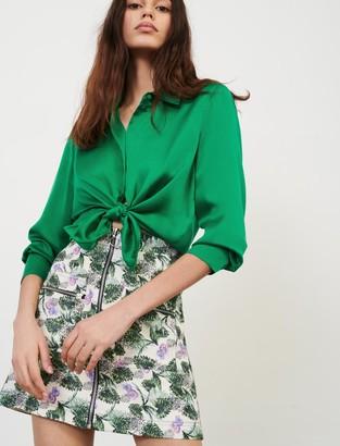 Maje Printed linen viscose skirt with zip
